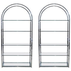 Mid-Century Modern Pair of Tall Curved Chrome Glass Etagere Shelving Baughman