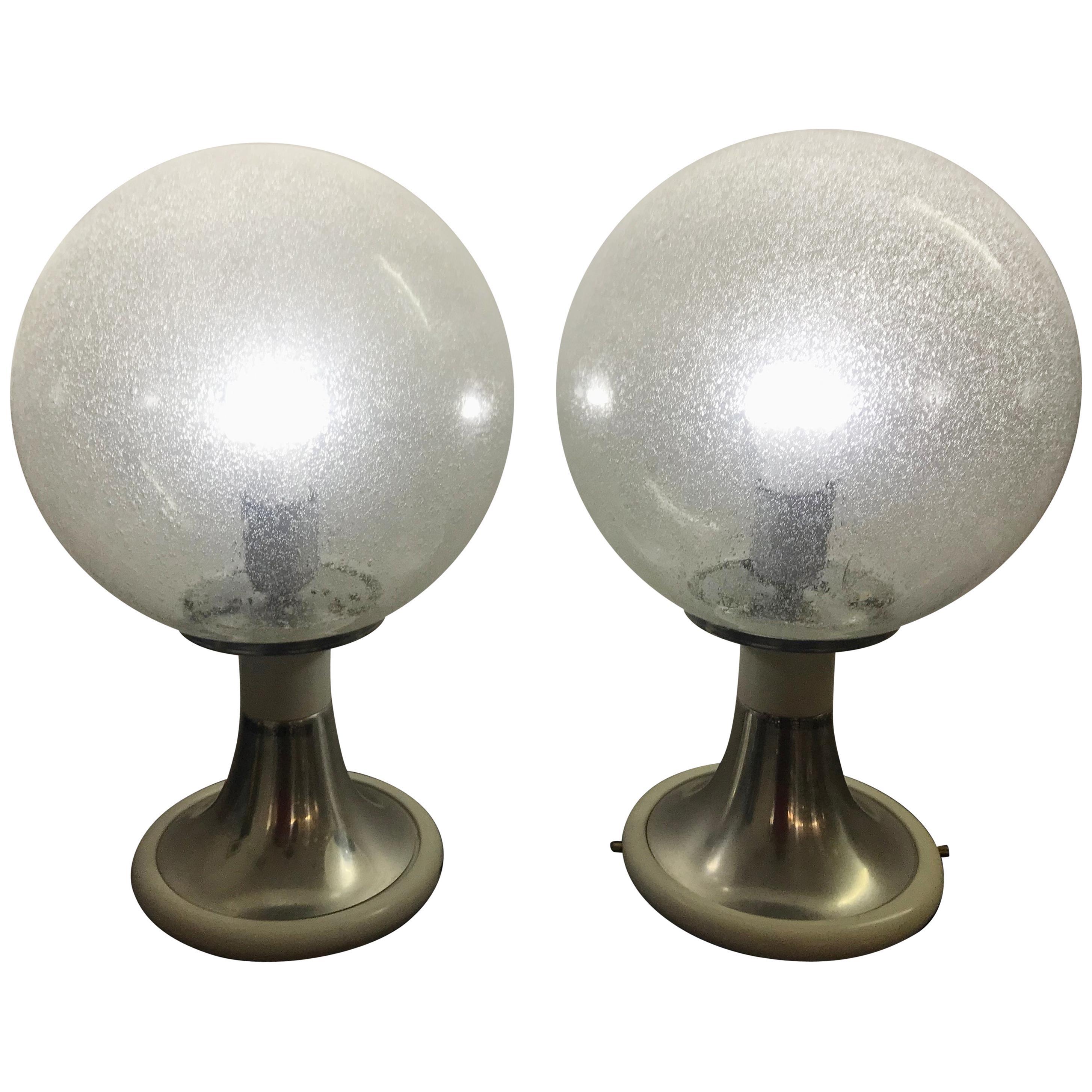 Mid-Century Modern Pair of Targetti Sankey Flush Mounts or Table Lamps