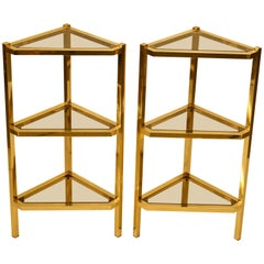 Mid-Century Modern Pair of Triangular Brass and Glass Shelving Units