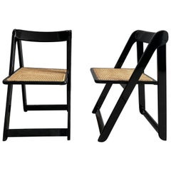 """Mid-Century Modern Pair of """"Trieste"""" Folding Lacquered Chairs for Bazzani, 1960s"""