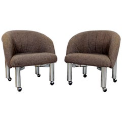 Mid-Century Modern Pair of Tubular Chrome Barrel Armchairs DIA