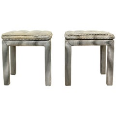 Mid-Century Modern Pair of Tufted Benches Stools Ottomans Baughman Parsons 1960s