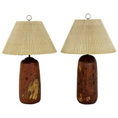 Mid-Century Modern Pair of Turned Wood Table Dimmer Lamps, 1960s