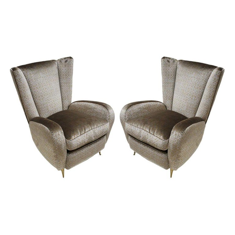 Mid-Century Modern Pair of Velvet and Bronze Italian Armchairs For Sale