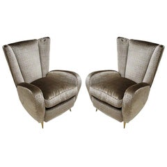 Mid-Century Modern Pair of Velvet and Bronze Italian Armchairs