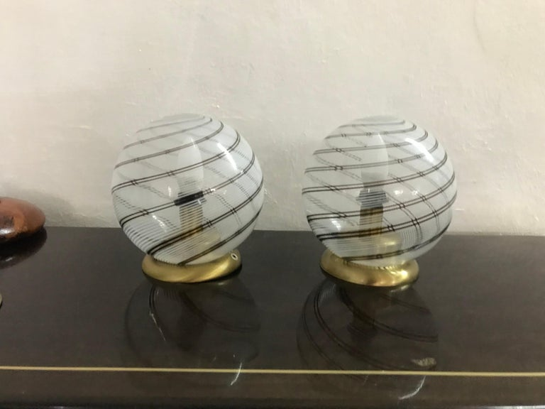 Mid-Century Modern Pair of Venini Table Lamps in Brass and Murano Glass In Good Condition For Sale In Merida, Yucatan