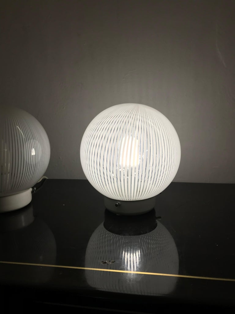 Blown Glass Mid-Century Modern Pair of Venini Table Lamps