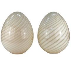 Mid-Century Modern Pair of Vetri Murano Glass Egg Table Lamps