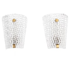 Mid-Century Modern Pair of Wall Lamp in Cristal
