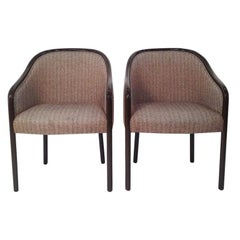 Mid-Century Modern Pair of Ward Bennett Armchairs Newly Lacquered in Dark Brown
