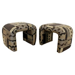 Mid-Century Modern Pair of Waterfall Benches Stools Ottomans by Milo Baughman