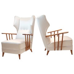 Mid-Century Modern pair of White Satin Ico Parisi Armchairs, Como, 1950s