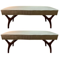 Mid-Century Modern Pair of Window Benches or Stools in New Upholstery