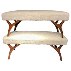 Mid-Century Modern Pair of Window Benches or Stools in Sherpa Upholstery
