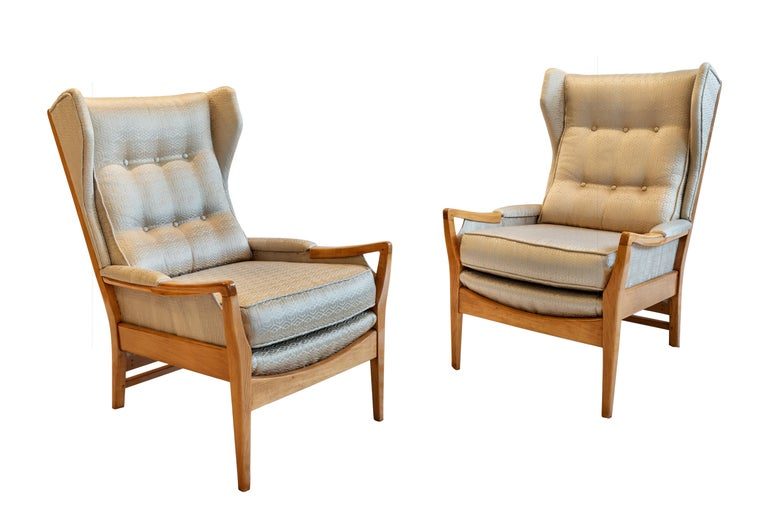 Swedish Mid-Century Modern Pair of Wingback Teak Chairs Attributed to Arne Norell For Sale