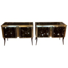 Mid-Century Modern Wood & Brass with Brown Artistic Murano Glass Credenzas, Pair