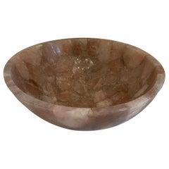 Mid-Century Modern Pair Rock Crystal Round Natural Rose Pink Quartz Centerpiece