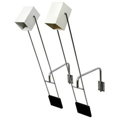 Mid-Century Modern Pair Sonneman Adjustable Chrome Light Fixtures Sconces, 1970s
