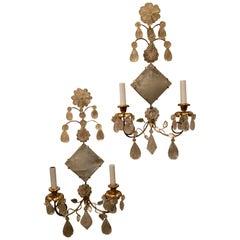 Mid-Century Modern Pair Transitional Gold Leaf Rock Crystal Diamond Wall Sconces