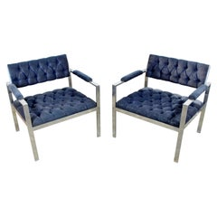Mid-Century Modern Pair of Tufted Chrome Lounge Chairs Harvey Probber, 1970s