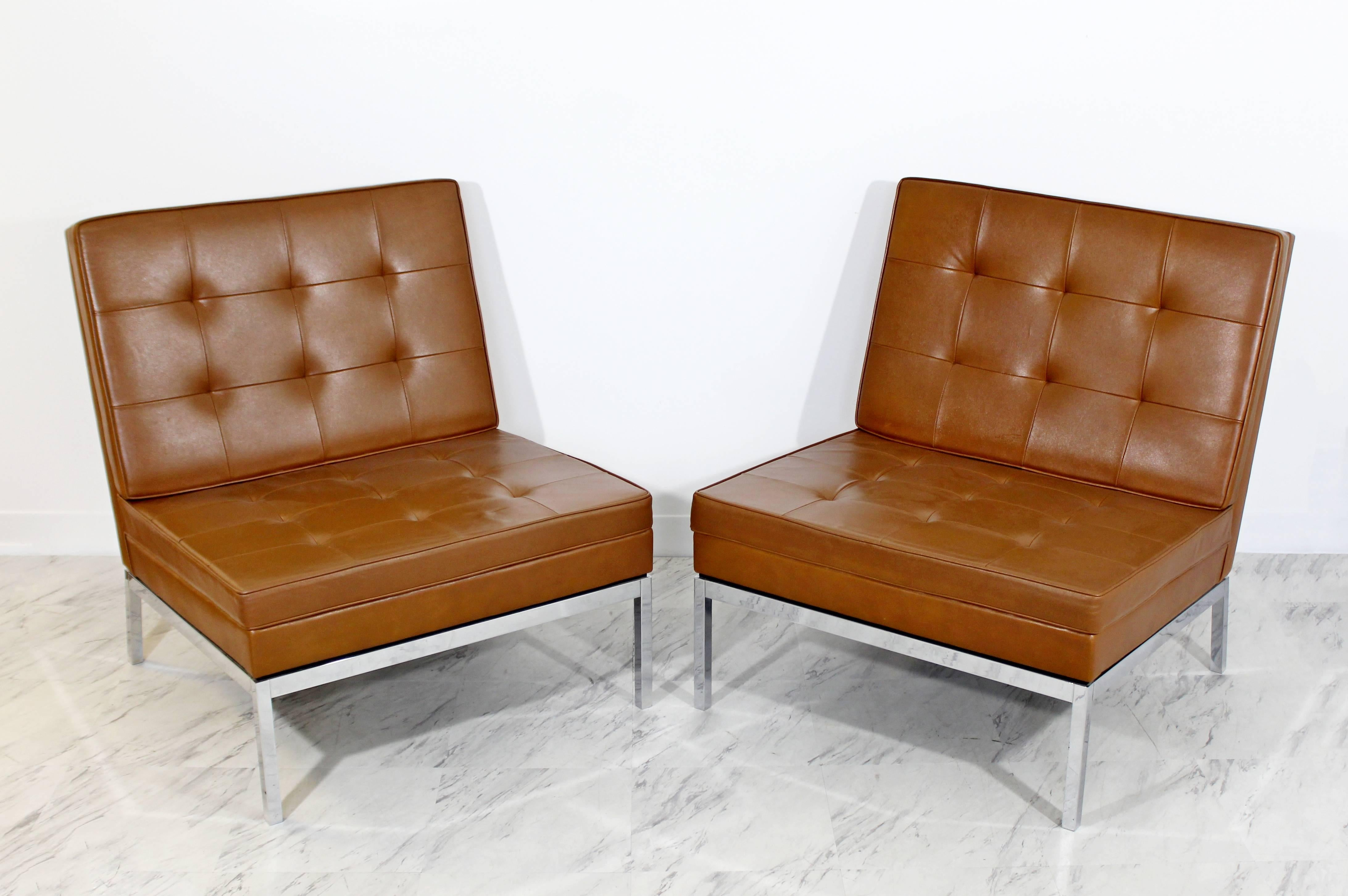 For Your Consideration Is A Phenomenal Pair Of Chrome And Brown Leather  Slipper Chairs, Model