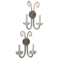 Mid-Century Modern Pair Vintage Transitional 2 Arm Crystal Glass Wall Sconces