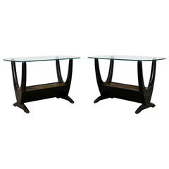 Mid-Century Modern Pair Wood Glass Brass Planter End Side Tables by Pearsall