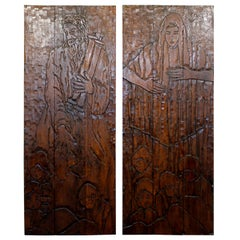 Mid-Century Modern Pair Wood Wall Art Sculpture Relief Gaugy Style Moses Meriam