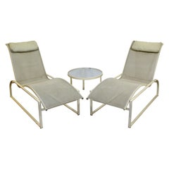Mid-Century Modern Pair of Woodard Margarita Patio Chaise Lounge Chairs & Table