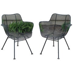 Mid-Century Modern Pair of Woodard Sculpture Patio Outdoor Lounge Armchairs