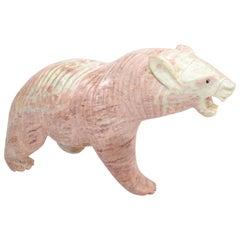 Mid-Century Modern Pale Pink Marble Polar Bear Sculpture, Animal Sculpture, 1970