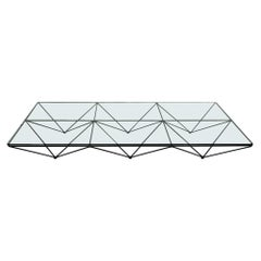 Mid-Century Modern Paolo Piva Glass Top and Metal Base Italian Coffee Table