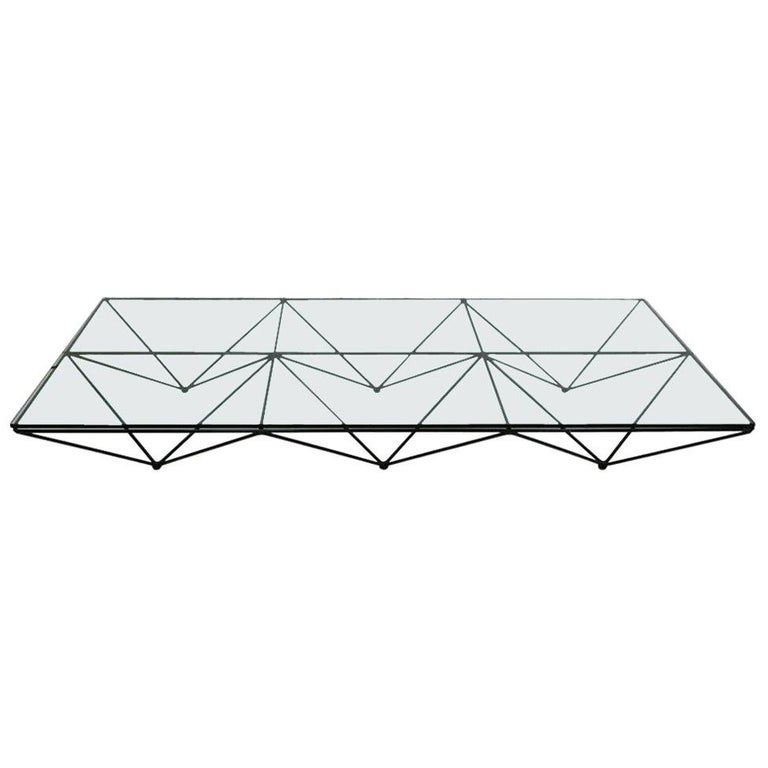 Paolo Piva glass-top coffee table, 1970, offered by LA Studio