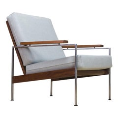 Mid-Century Modern Parry Lounge Chair Model Lotus in Teak and Grey New Fabric