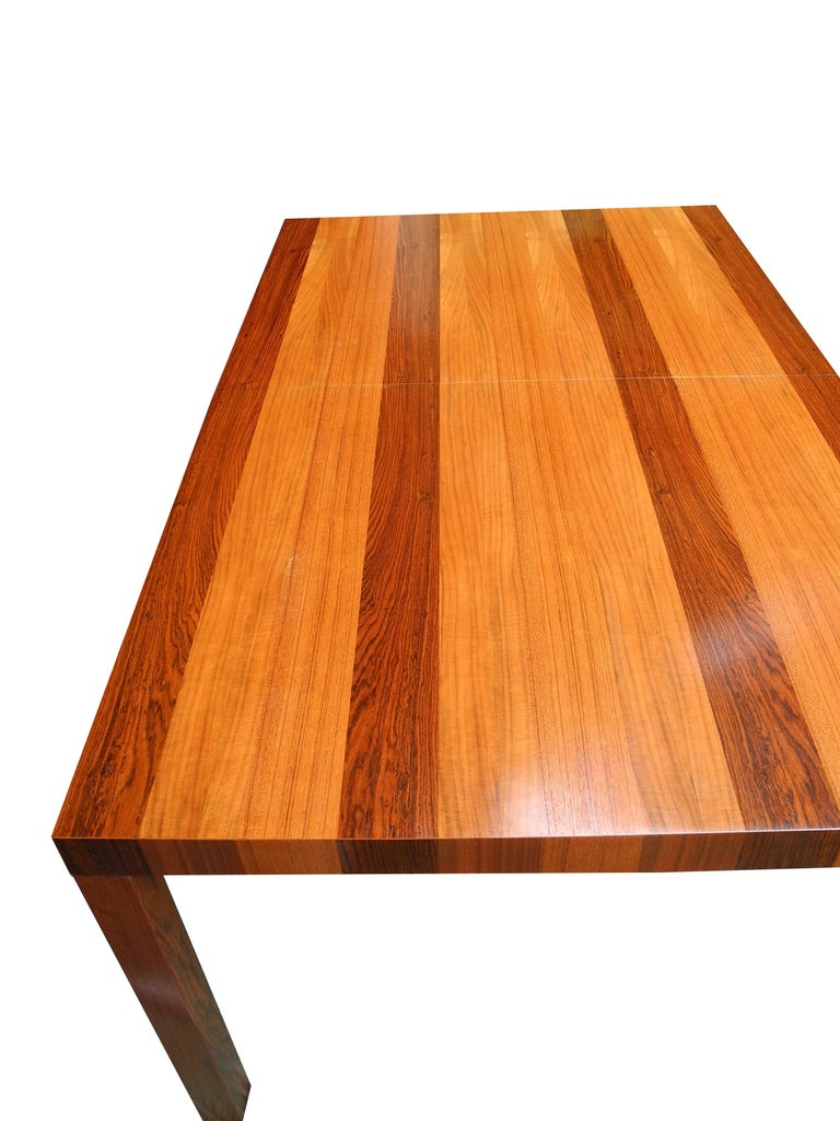 Mid-Century Modern Parson Striped Table by Milo Baughman in Three Woods For Sale 4