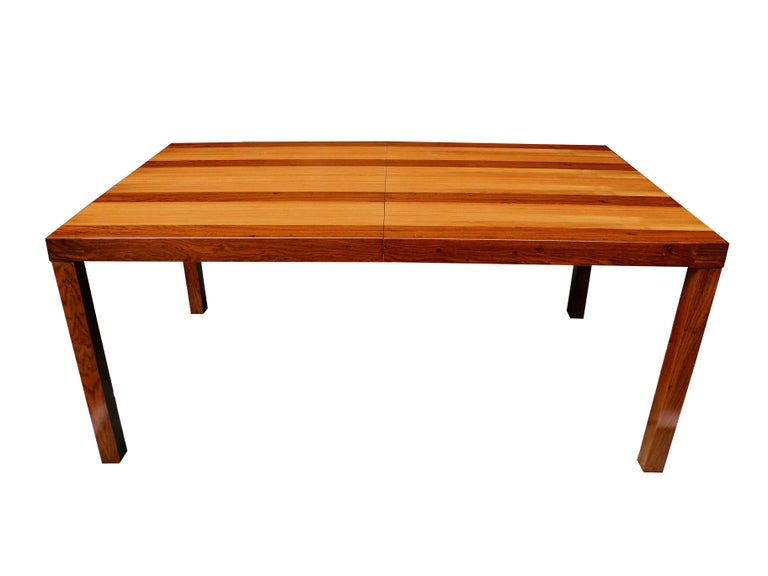 American Mid-Century Modern Parson Striped Table by Milo Baughman in Three Woods For Sale
