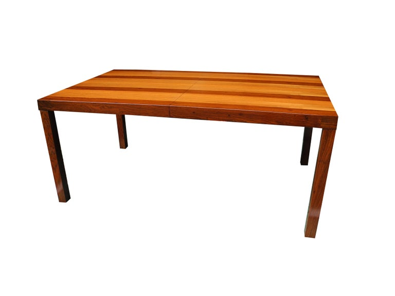 Mid-Century Modern Parson Striped Table by Milo Baughman in Three Woods In Excellent Condition For Sale In Hudson, NY