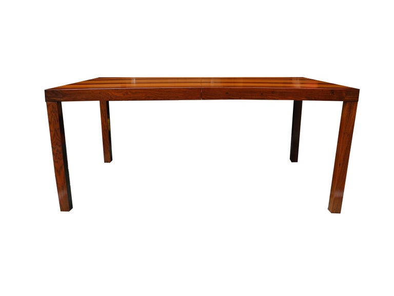 20th Century Mid-Century Modern Parson Striped Table by Milo Baughman in Three Woods For Sale