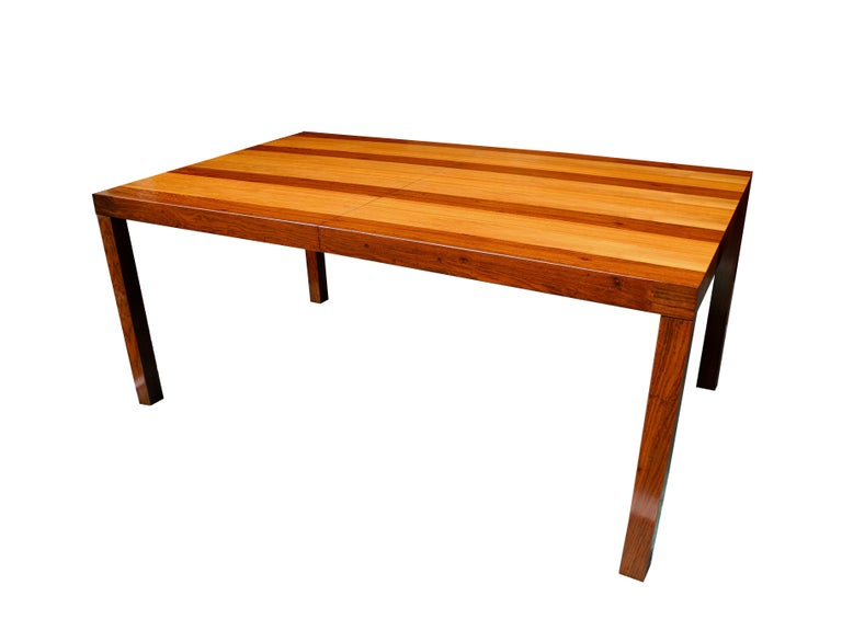Mid-Century Modern Parson Striped Table by Milo Baughman in Three Woods For Sale 1