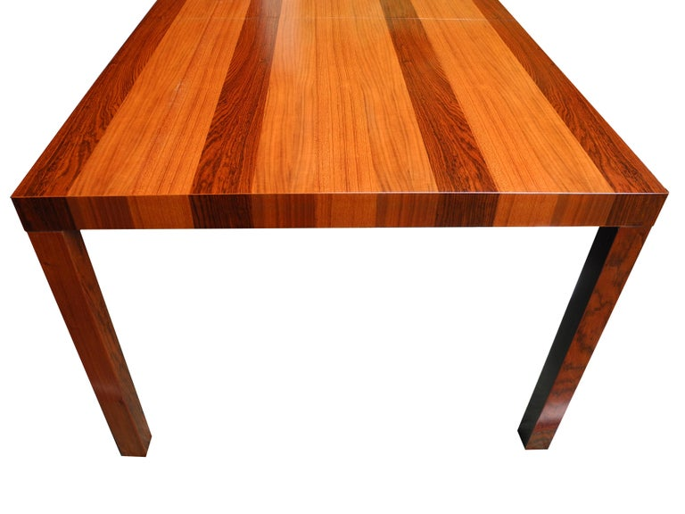 Mid-Century Modern Parson Striped Table by Milo Baughman in Three Woods For Sale 2