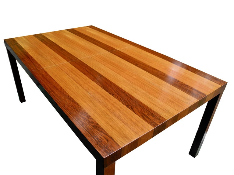 Mid-Century Modern Parson Striped Table by Milo Baughman in Three Woods For Sale 3