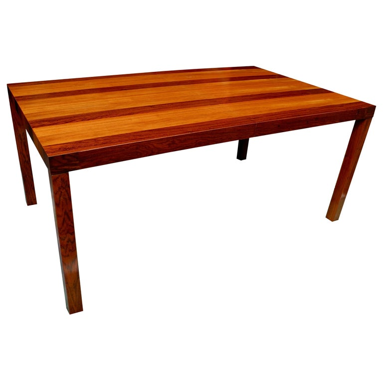 Mid-Century Modern Parson Striped Table by Milo Baughman in Three Woods For Sale