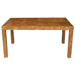 Mid-Century Modern Parsons Dining Table or Conference Table in Burl Wood