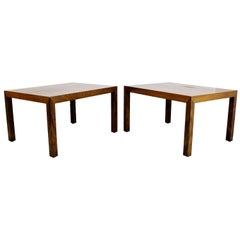 Mid-Century Modern Parsons Pair of Rosewood Side End Tables, Denmark, 1960s