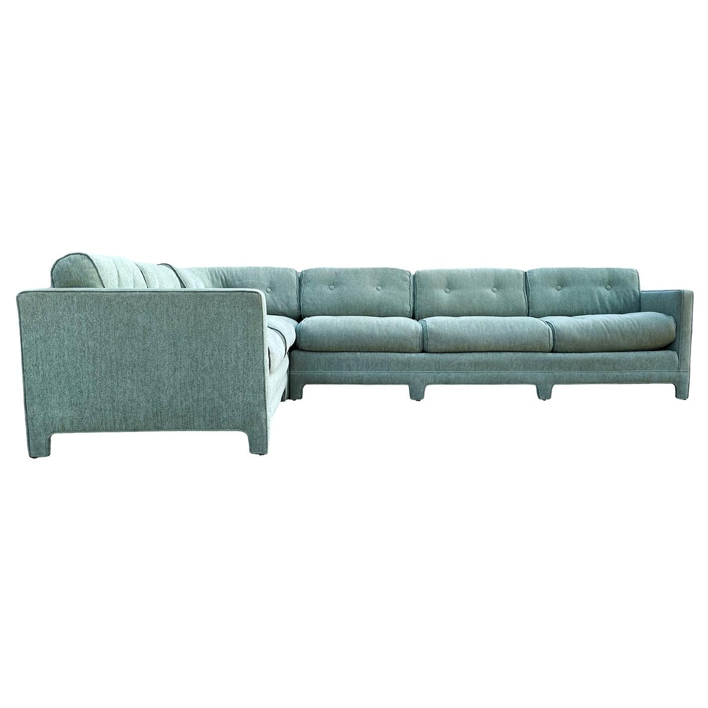 Mid-Century Modern Parsons Style Sectional Sofa after Milo Baughman