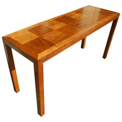 Mid-Century Modern Parson's Style Walnut Console with Parquet Top, 1950s