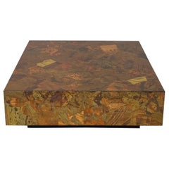 Mid-Century Modern Patchwork Copper and Brass Coffee Table for Modernage