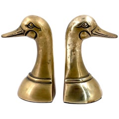 Mid-Century Modern Patinated Brass Duck Bookends