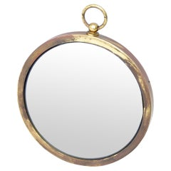 Mid-Century Modern Patinated Brass Pocket Watch Style Wall Mirror France 1960s