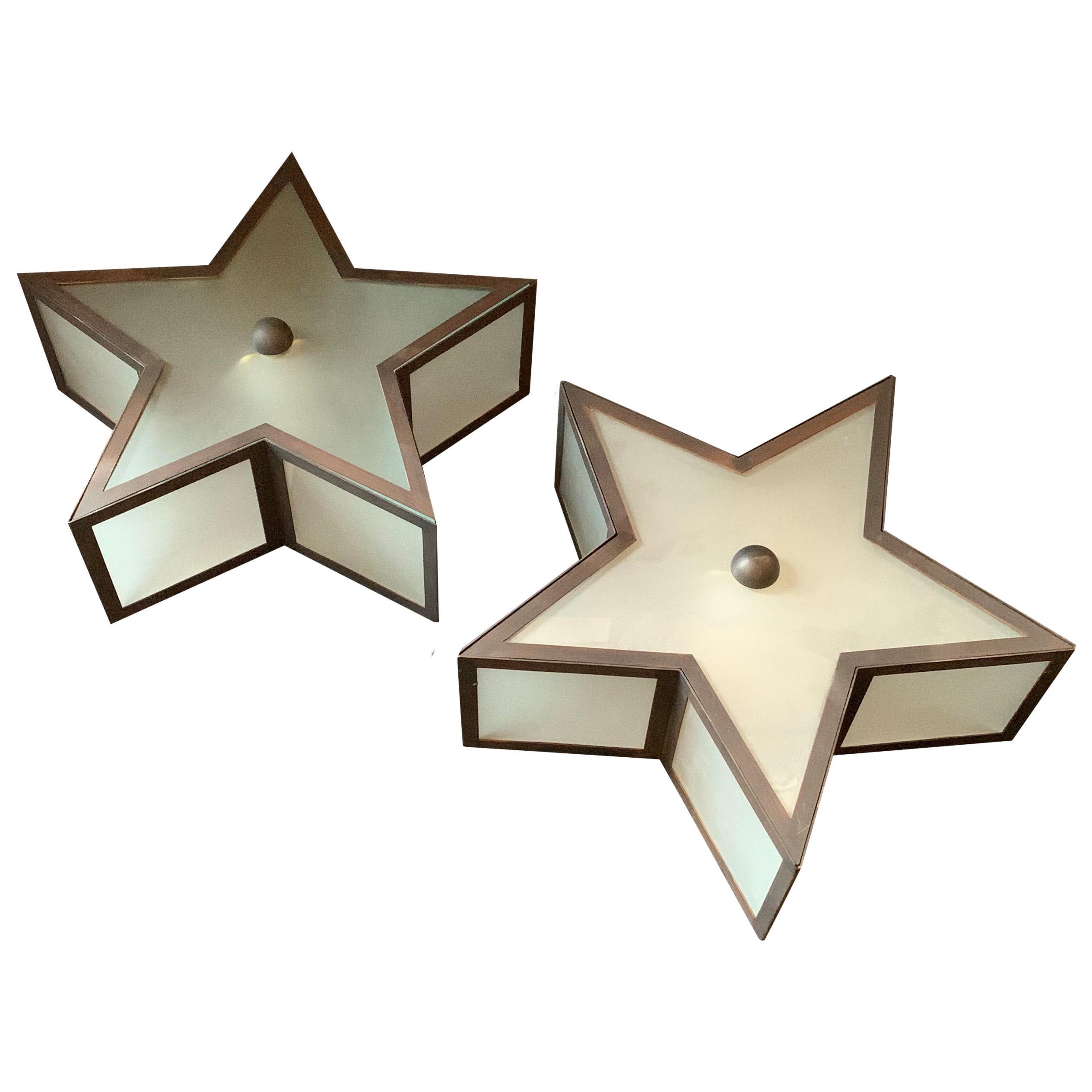 Mid-Century Modern Patinated Bronze Star Glass Flush Mount Light Fixtures 4 Four